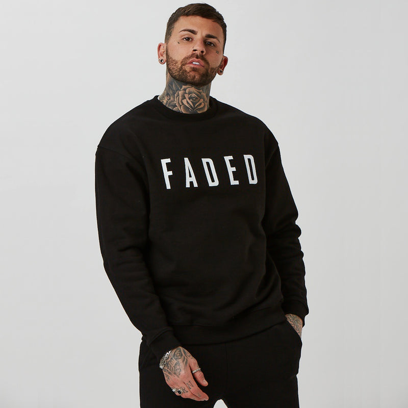Mens heavy weight branded jumper in black