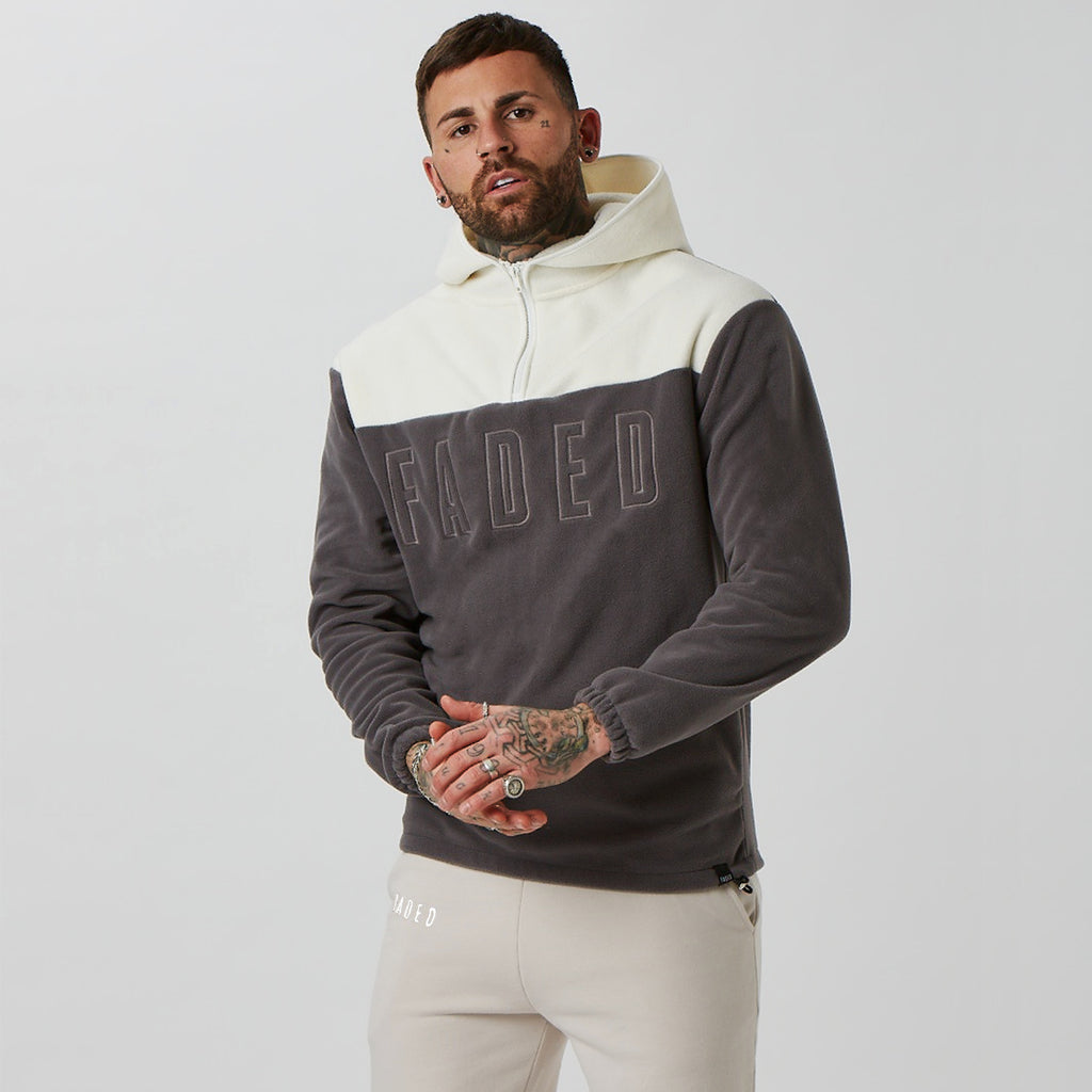 Teddy fleece branded hoodie in grey