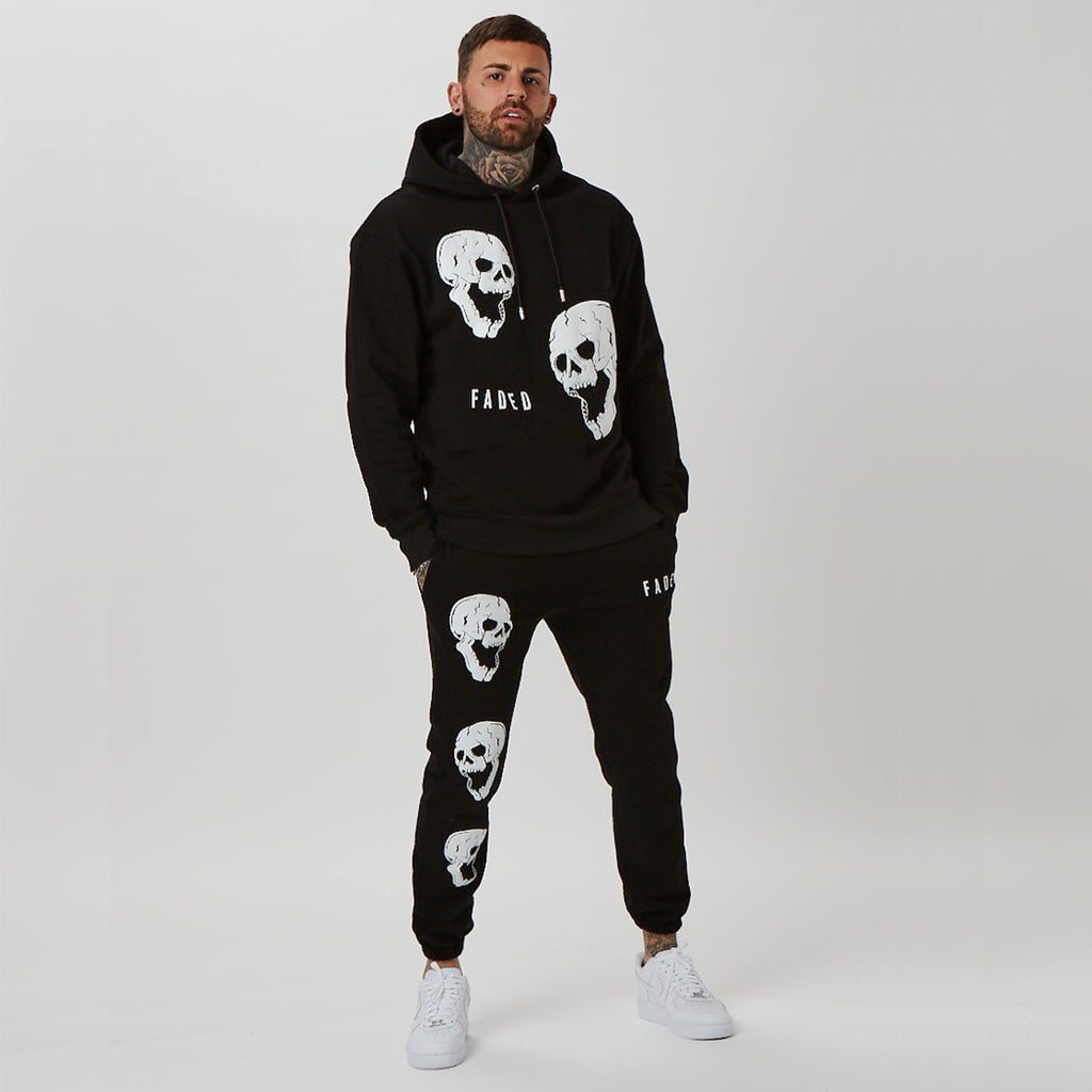 Matching mens graphic hoodie & joggers in black