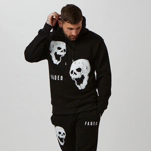 black mens graphic hoodie with skull detail