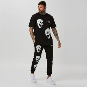 mens skull graphic t-shirt and joggers set
