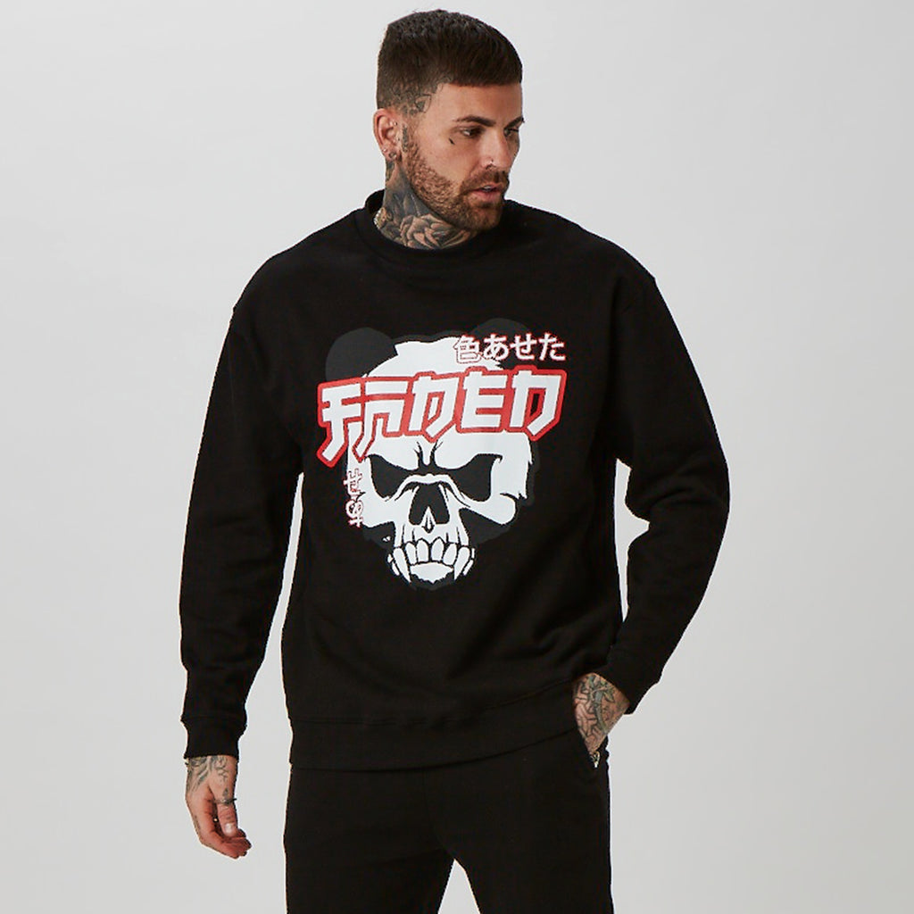 Mens graphic jumper with Panda Skull design