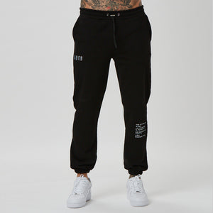 Mens branded joggers in black with text detail