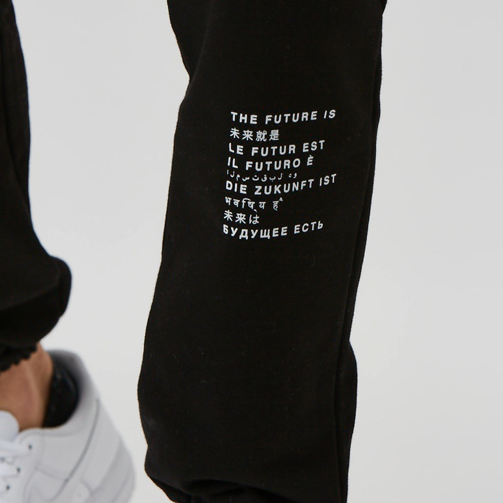 Text detail on mens branded joggers - black