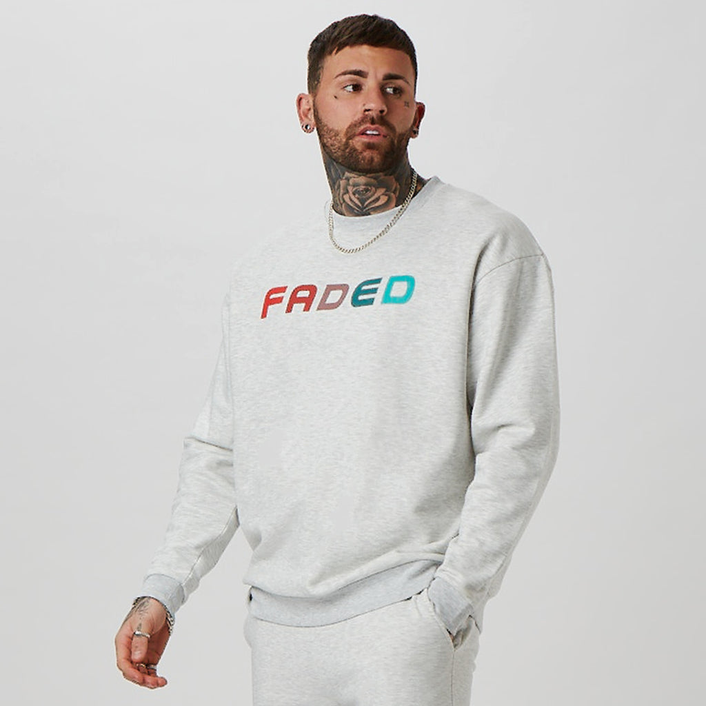 Mens grey branded jumper - FADE