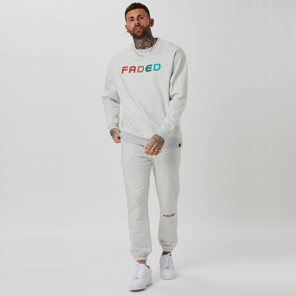 Fade tracksuit with branded joggers and jumper in grey