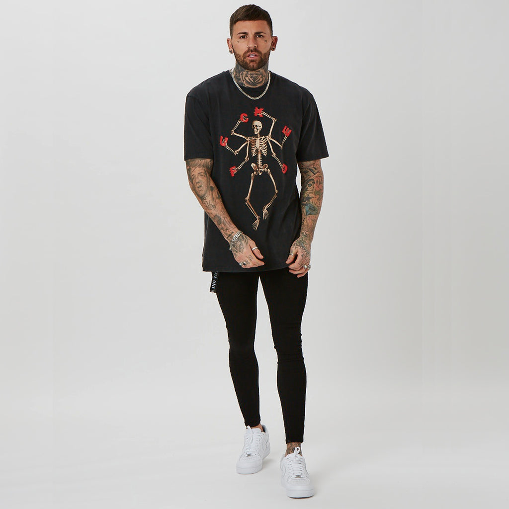 mens ritual t-shirt with skeleton graphic in acid wash