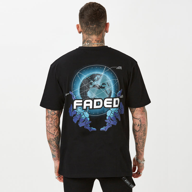 FADED mens graphic t-shirt in black Sci-fi