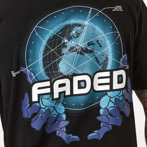 Close up of globe detail one mens FADED t-shirt