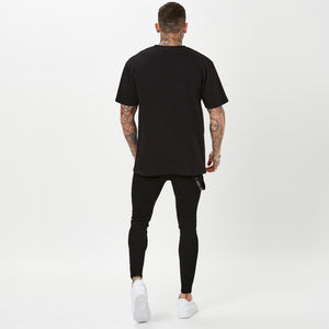 plain back of mens low logo t-shirt from FADED - black