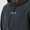 Branded detail on mens acid wash utility hoody
