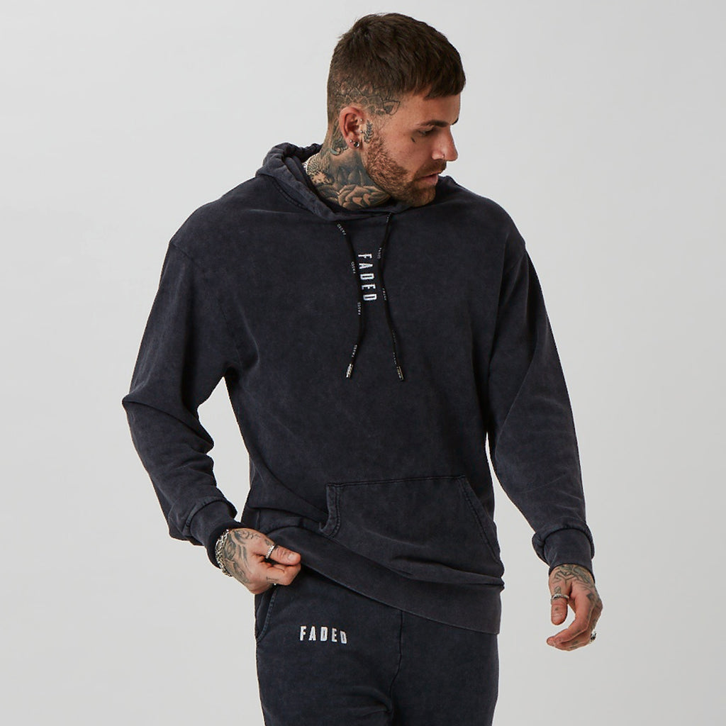 Mens acid wash branded hoodie