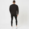 Back profile of mens graphic jumper and jeans (plain)