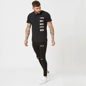 Mens black t-shirt and jeans