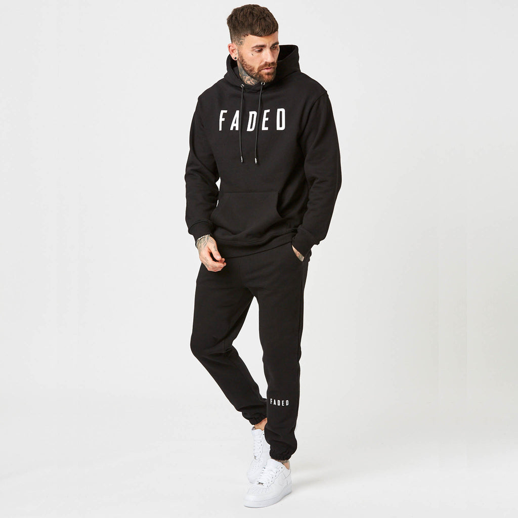 mens black hoodie with matching shin branded joggers