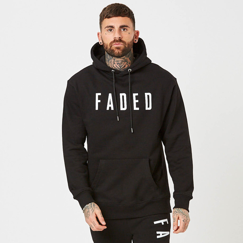 Heavyweight branded Hoodie in black