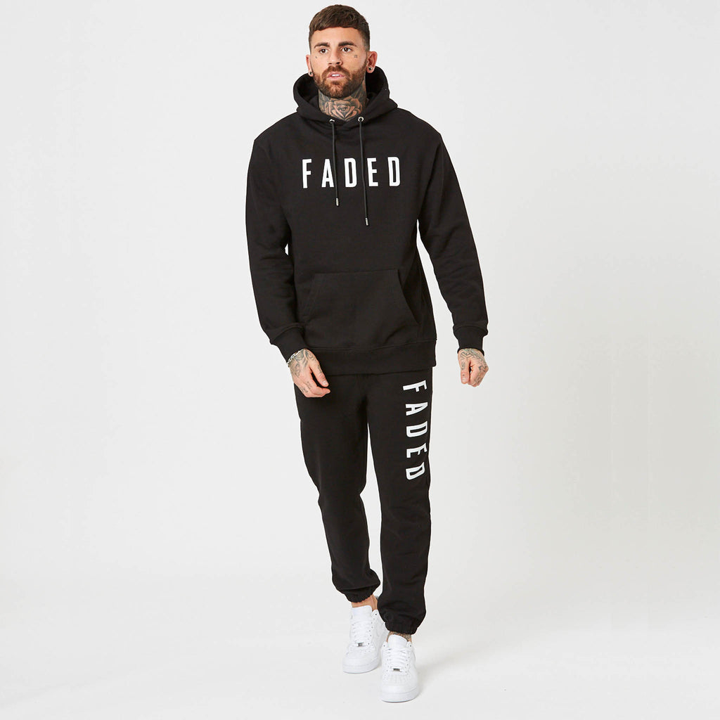 mens branded black joggers and hoodie for men