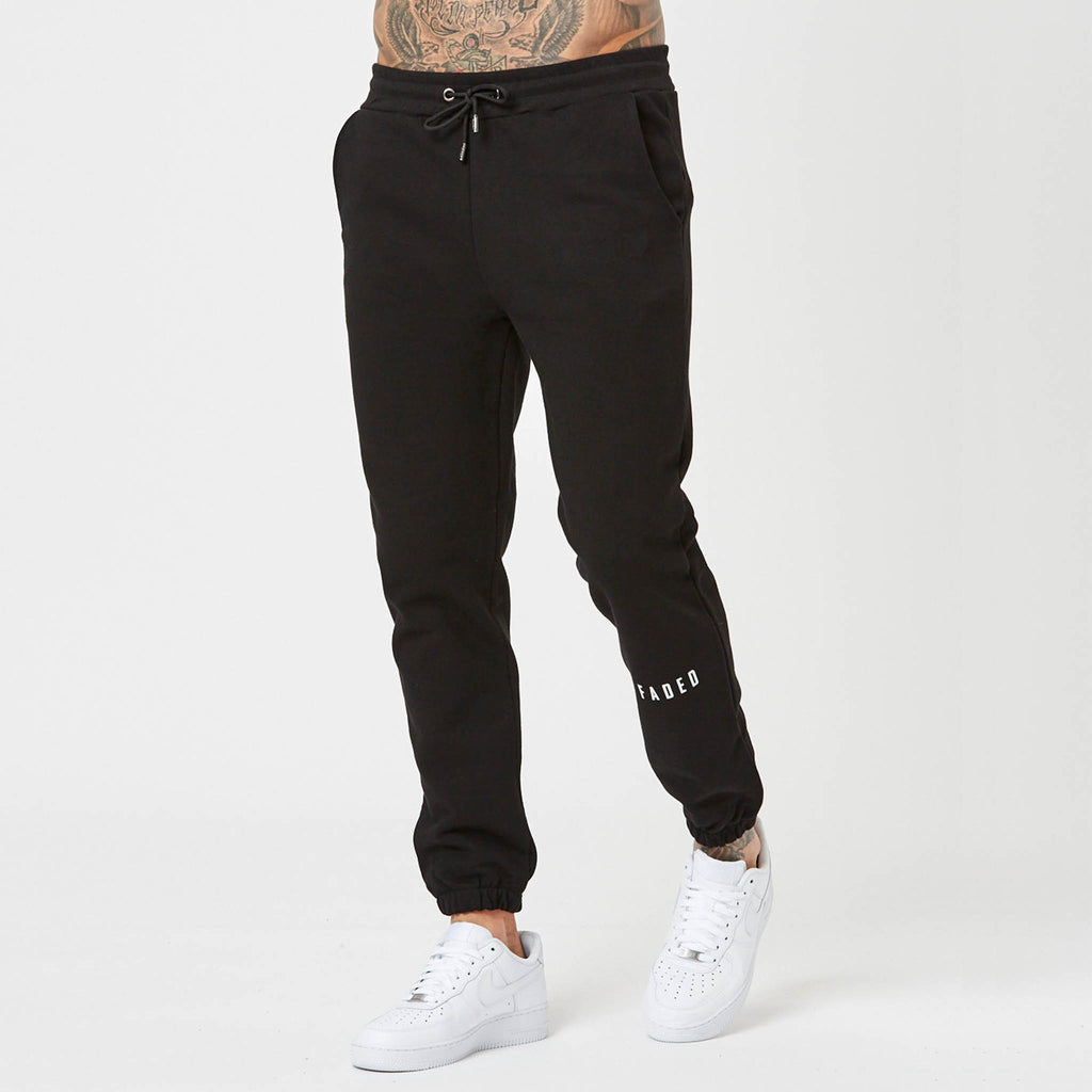 Mens branded shin jogger in black