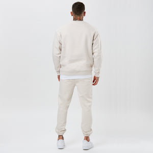 Back shot of mens full tracksuit in ecru