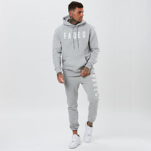 mens grey marl full tracksuit with big branding