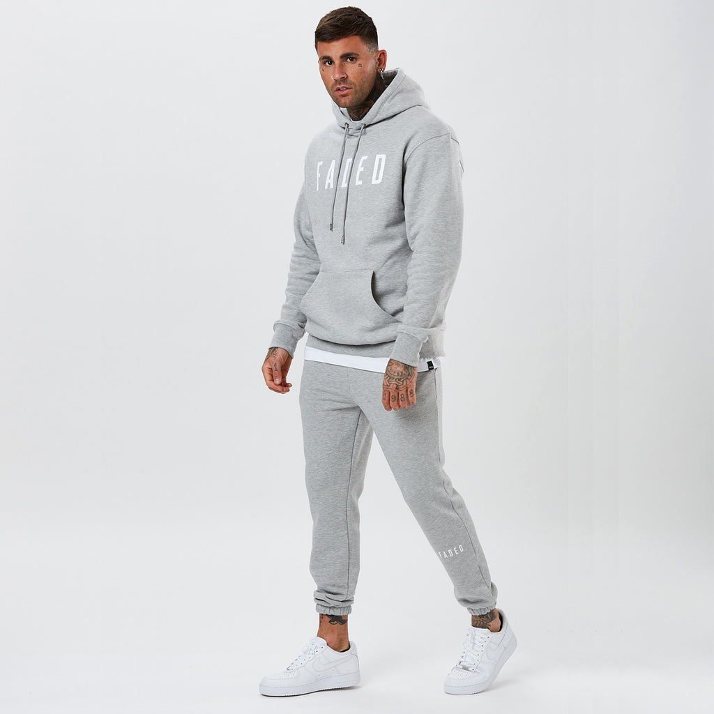 mens full tracksuit with FADED branding in grey marl