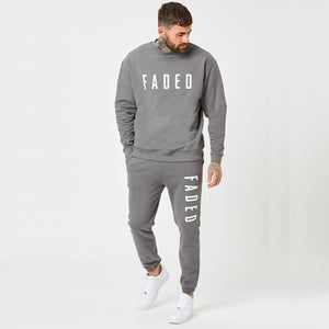 Heavyweight branded jumper and jogger set in grey