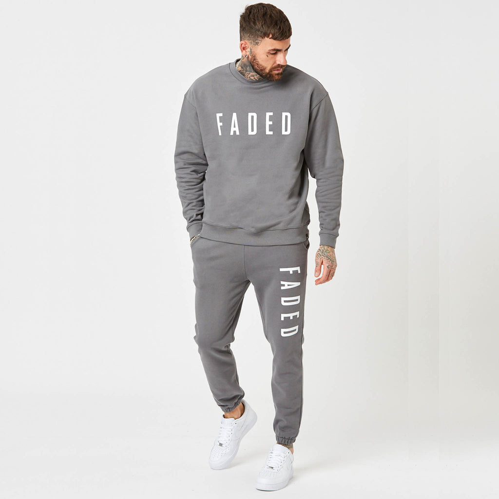branded jumper and joggers for men in grey
