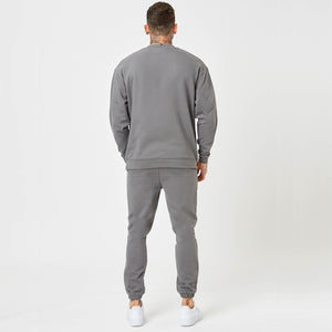 Mens branded jumper and jogger in grey (back shot)