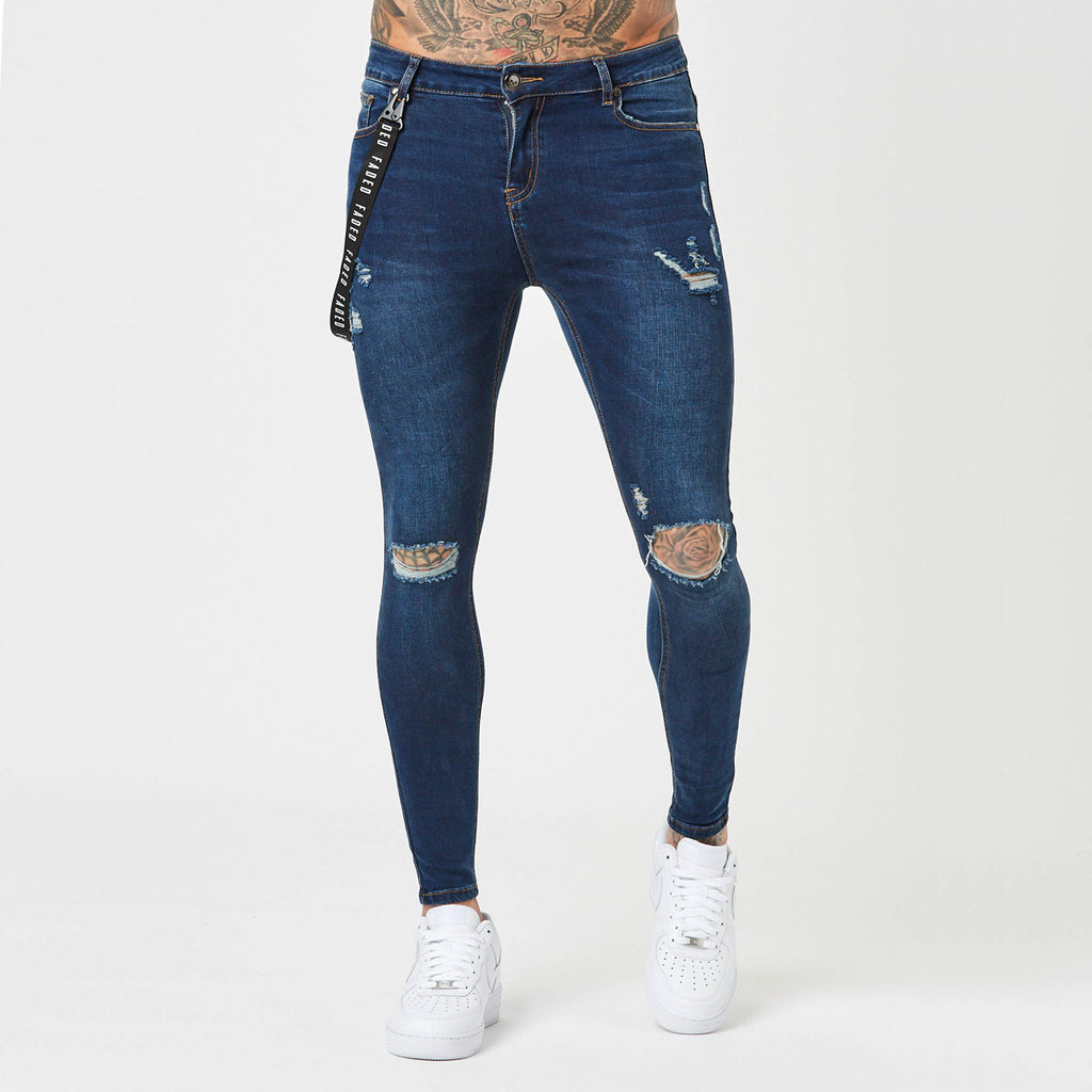 Ripped indigo mens spray on jeans from Faded