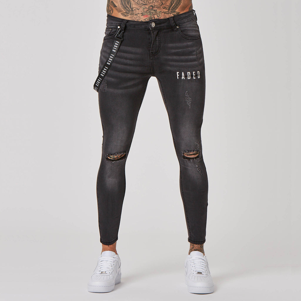 Distressed Logo Spray on Ripped Jeans  | Grey