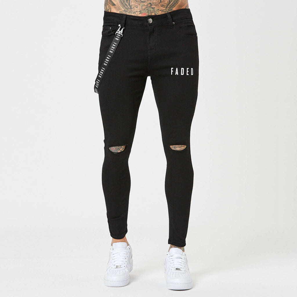 Logo Spray On Ripped Jeans | Black