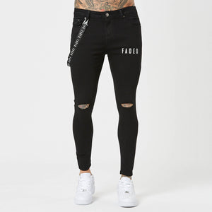 Mens black ripped spray on jeans