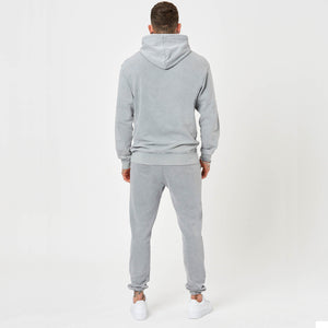 Back detail - mens branded joggers and hoodie in moonwash