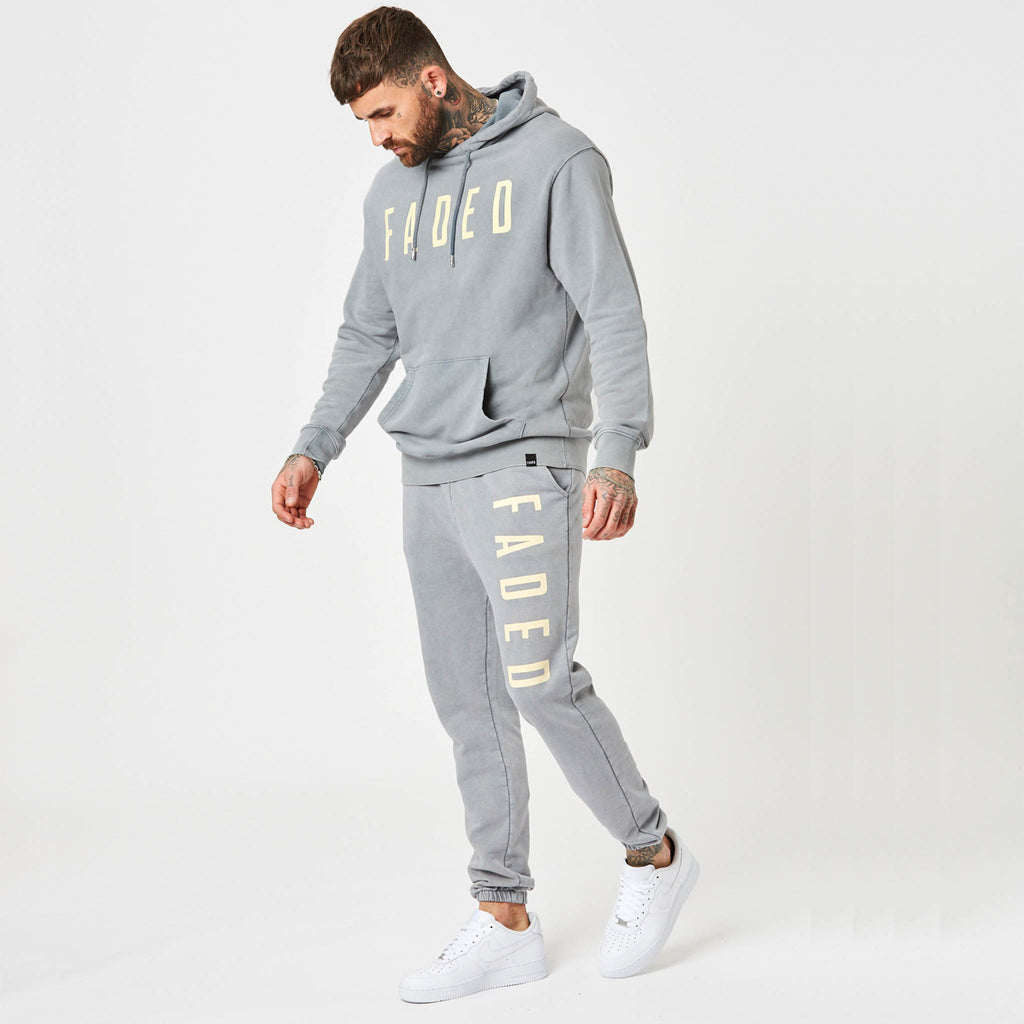 Mens branded hoodie and jogger set in moonwash