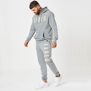 Mens tracksuit with branded joggers and hoodie in moonwash
