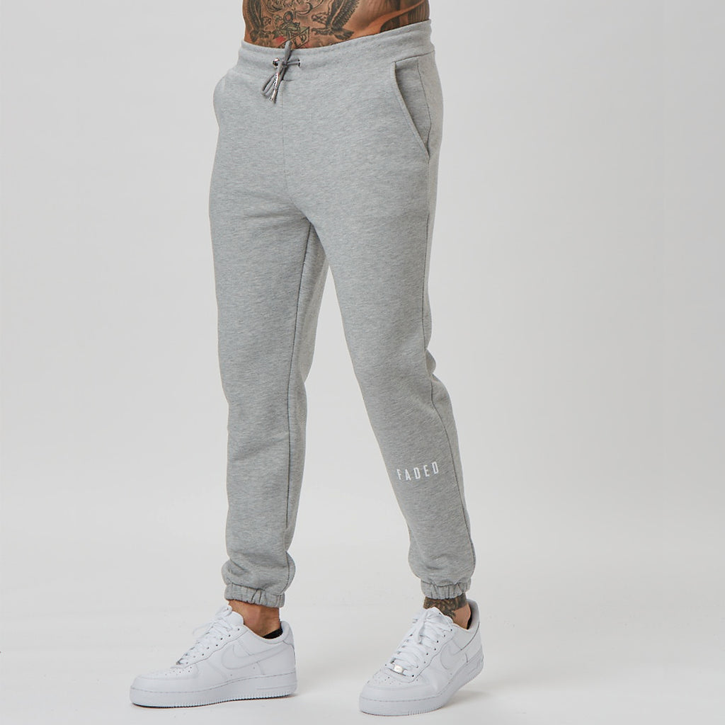 Grey fitted jogger with shin branding detail