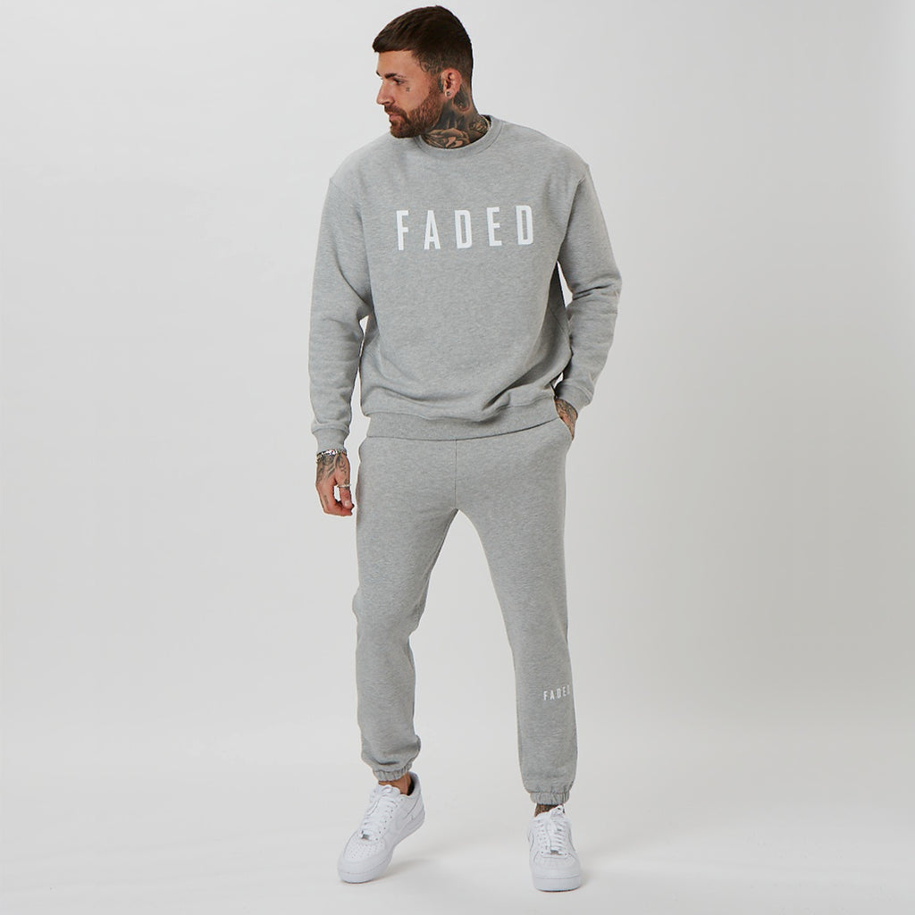 mens oversized jumper and branded shin jogger in grey