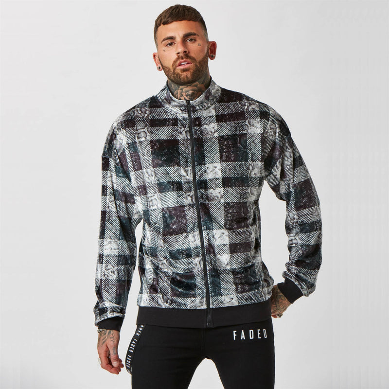 Lux Snake Check Track Top | Black