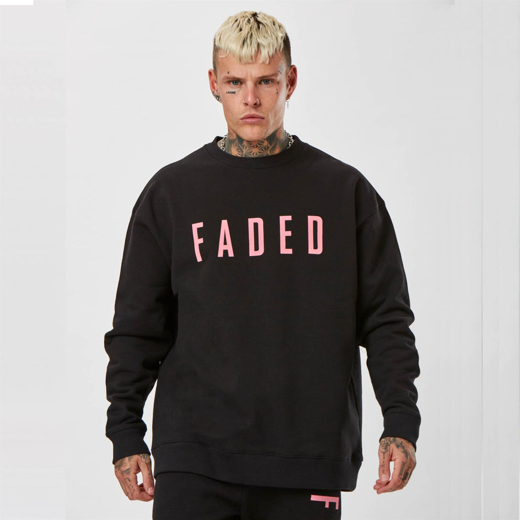 mens branded jumper in black with pink detail