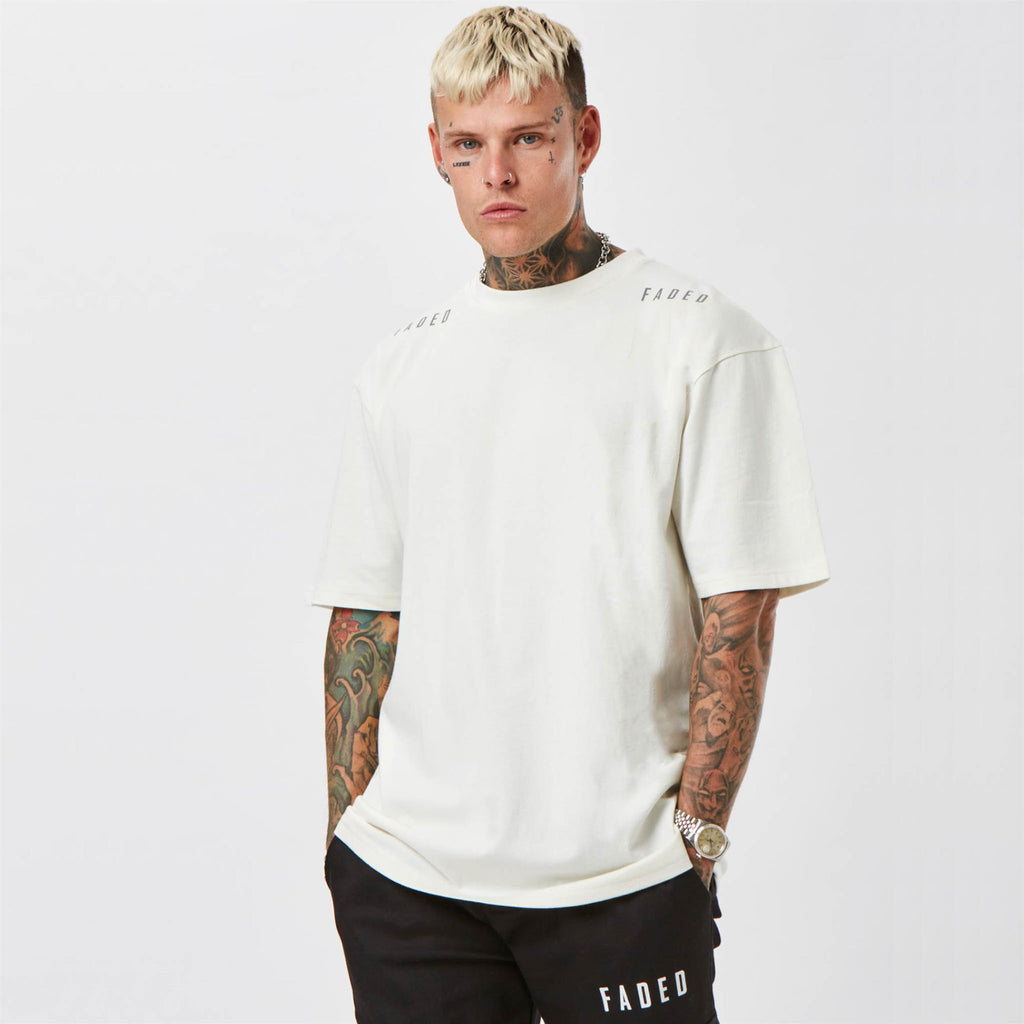 Shoulder branded hazard t-shirt from FADED