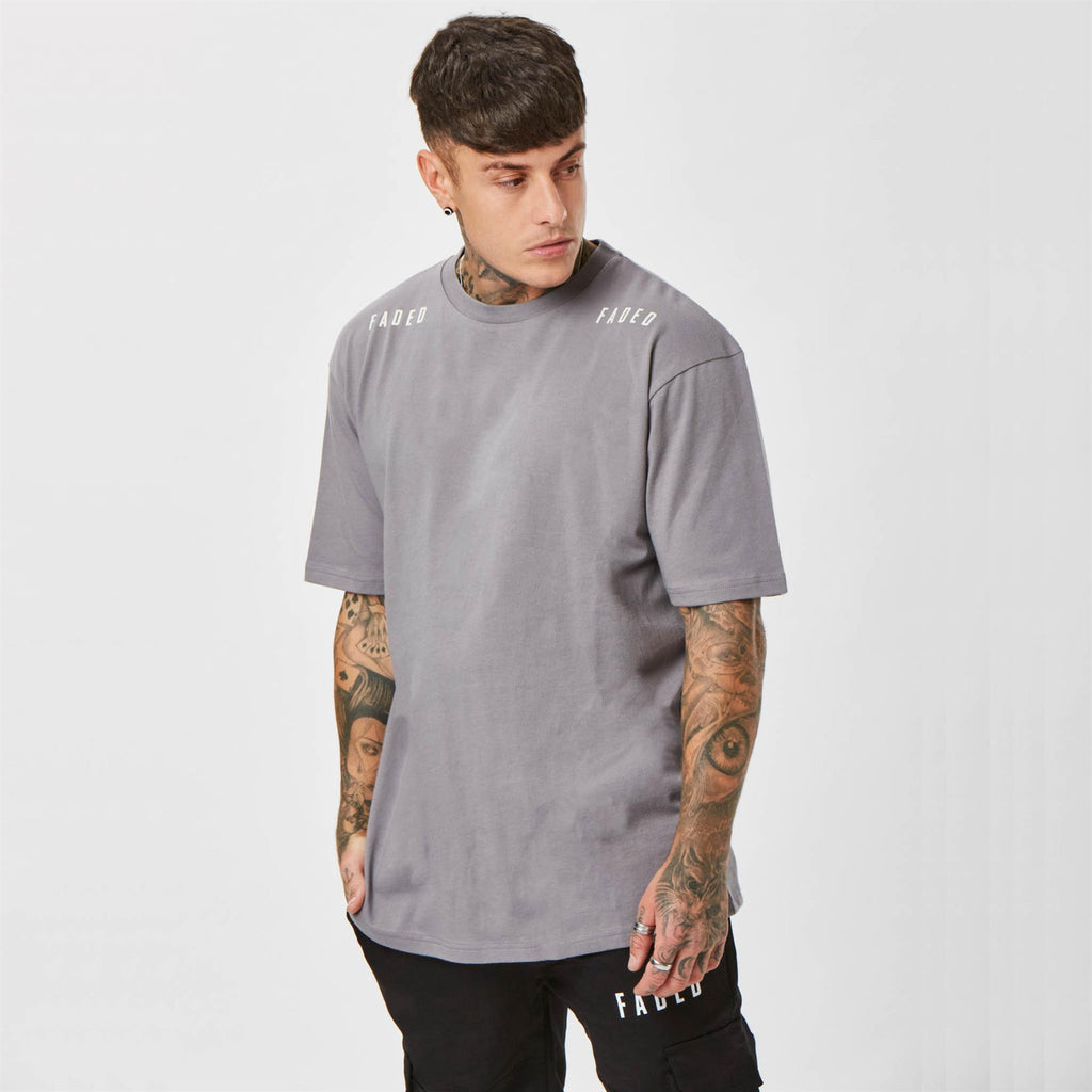 Shoulder branded grey streetwear t-shirt