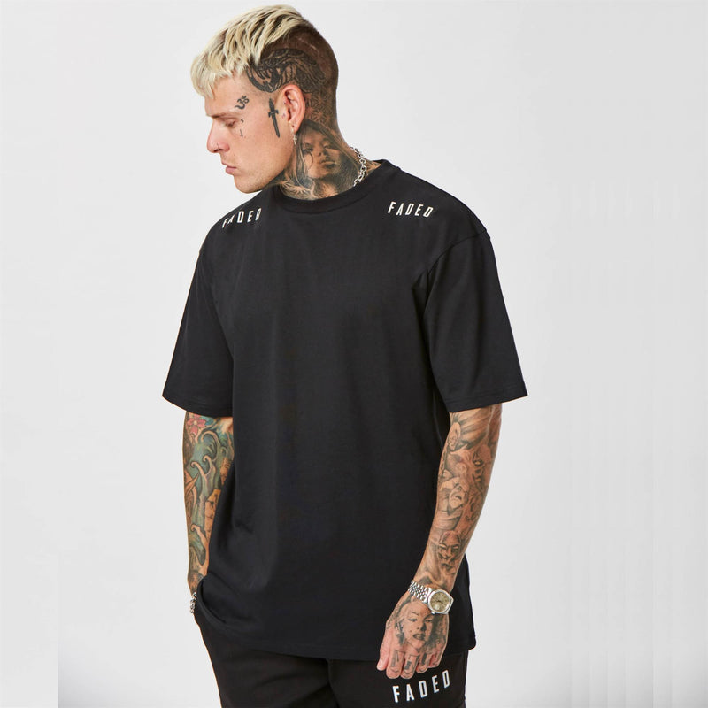 Faded Branded Streetwear T-shirt in Black