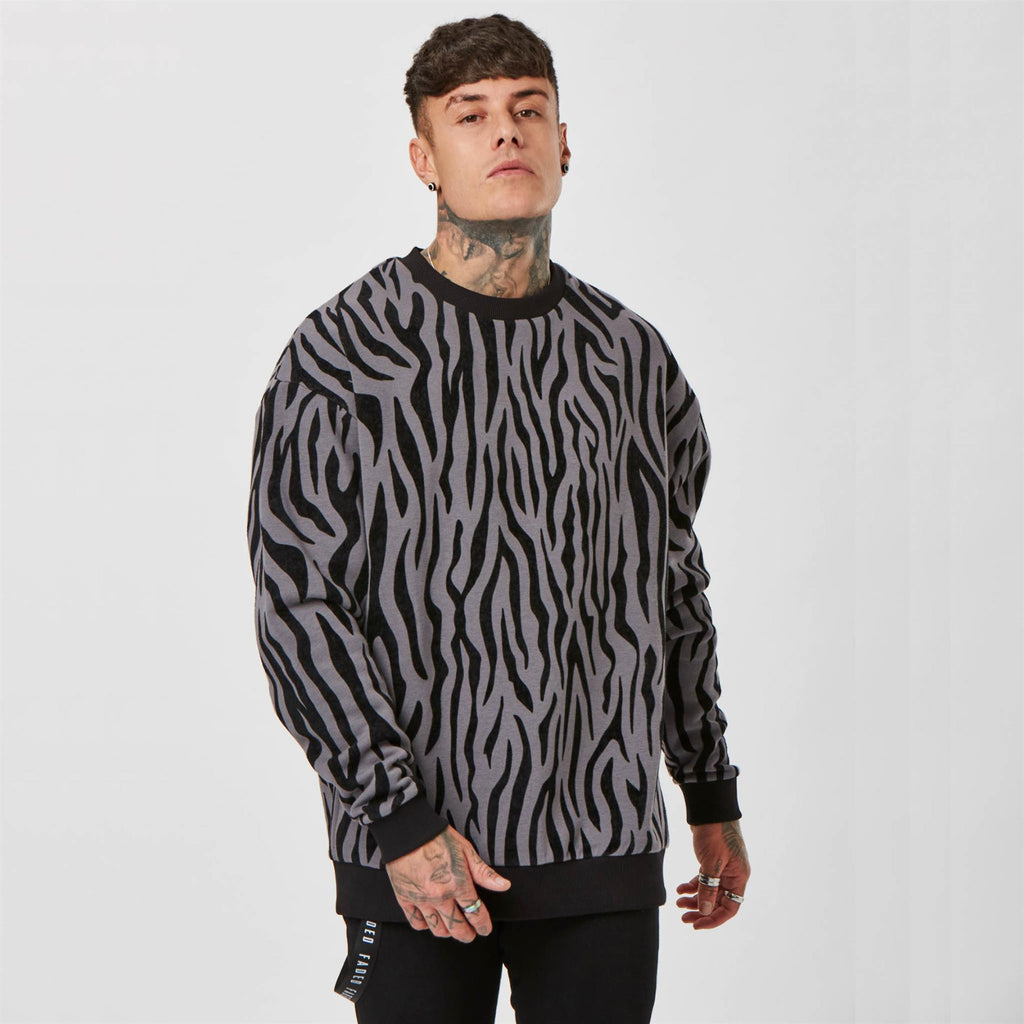 Lux Tonal Zebra Crewneck Sweat | Black