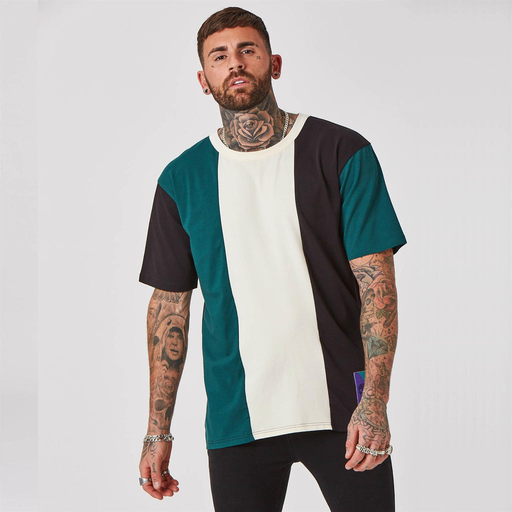 Mens striped streetwear top in green & white