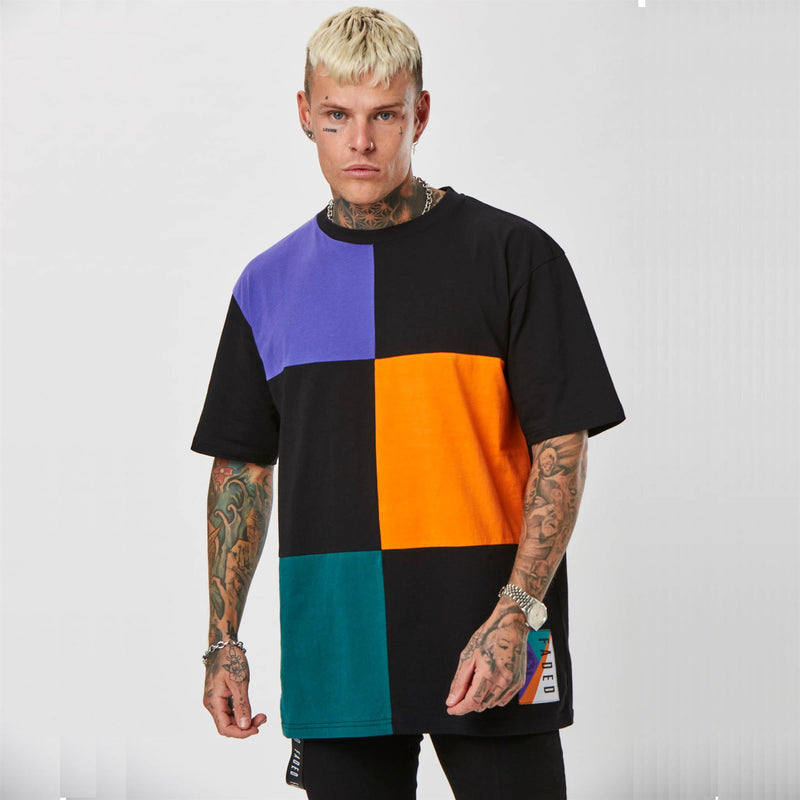 Mens multi-coloured grid t-shirt
