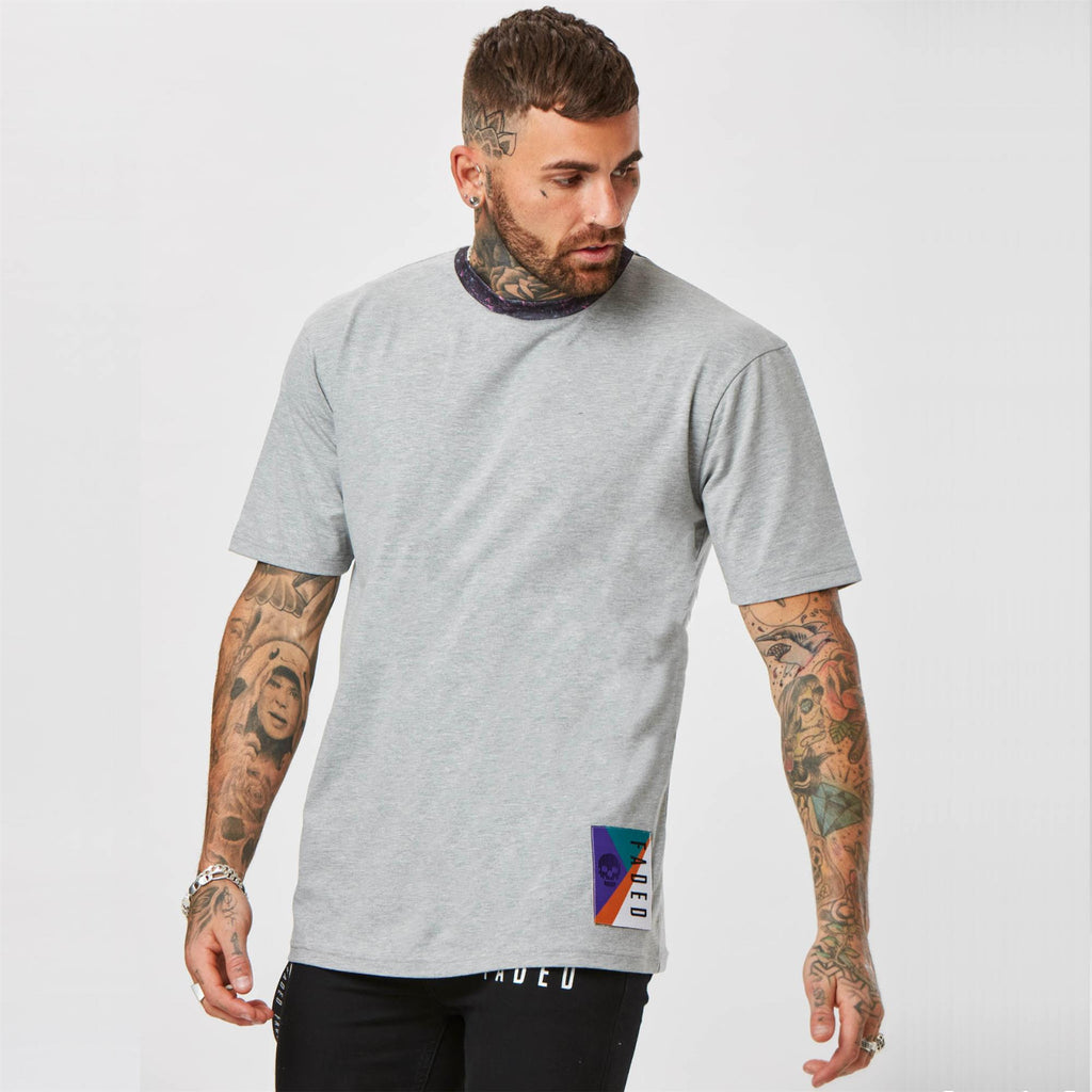 Mens plain grey retro streetwear t-shirt