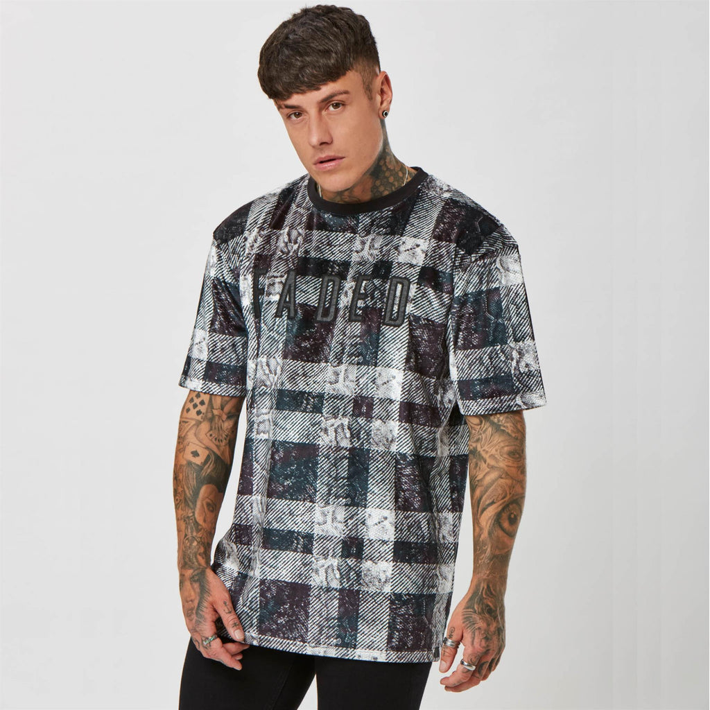 Snakeskin check graphic t-shirt