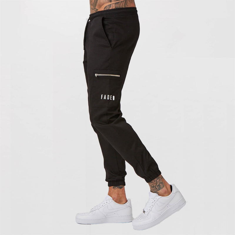 Fitted utility trousers for men in black with zip detail