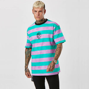 Mens Pink & Blue striped Tee with Skull graphic