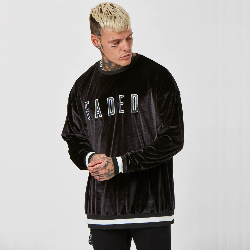 Mens Velour branded jumper in black